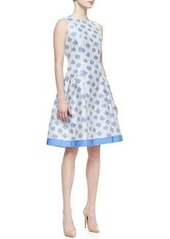 Sleeveless Abstract Floral-Print Cocktail Dress, White/Light Blue   Sleeveless Abstract Floral-Print Cocktail Dress, White/Light Blue
