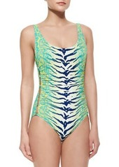 Snakeskin-Print Scoop-Neck One-Piece Swimsuit   Snakeskin-Print Scoop-Neck One-Piece Swimsuit