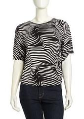 T Bags Dolman-Sleeve Swirl Striped Top, Black/White