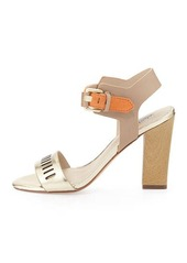 Charles David Justice Metallic Leather Chunky Sandal