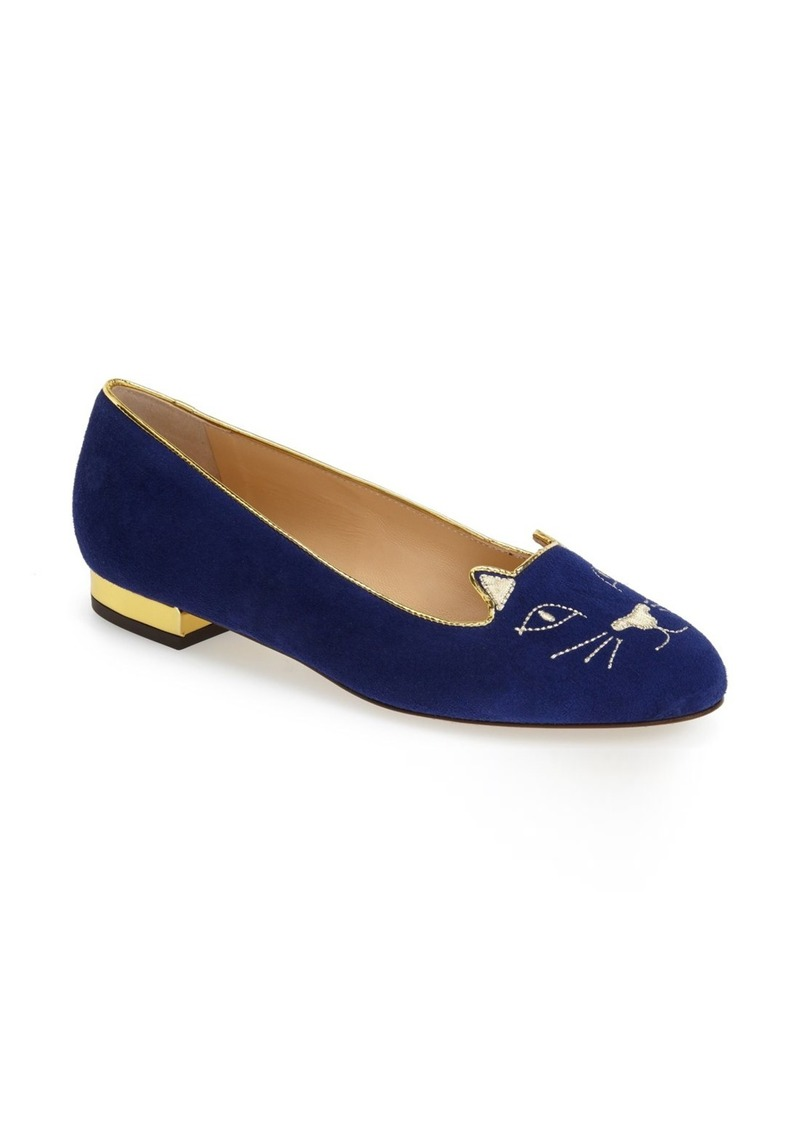 charlotte olympia charlotte olympia 39 kitty 39 suede flat nordstrom exclusive shoes shop it to me. Black Bedroom Furniture Sets. Home Design Ideas