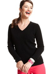 Charter Club Petite Sweater, Long-Sleeve V-Neck Cashmere