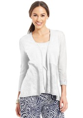 Charter Club Petite Three-Quarter-Sleeve Pointelle-Knit Open-Front Cardigan