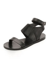 CoSTUME NATIONAL Calfskin Flat Ankle-Wrap Sandal, Black