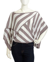 L.A.M.B. Striped Woven Adjustable Sweater, Gray