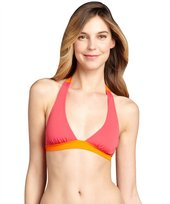 French Connection pink and orange colorblock 'Summer Strip' halter bikini top