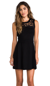 Shoshanna Lace Yoke Sweater Dress in Black