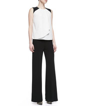 Etro Jersey Crepe Side-Zip Wide-Leg Pants, Black