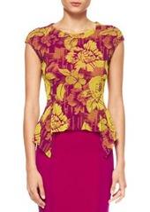 Jean Paul Gaultier Floral-Print Peplum Top, Magenta/Yellow