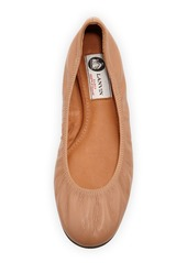 Lanvin Scrunched Leather Ballerina Flat, Mastic