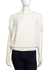 Laundry by Shelli Segal Batwing-Sleeve Banded Chiffon Top, Snow