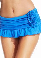 Kenneth Cole Ruched Ruffled Swim Skirt