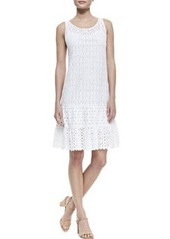 Mixed-Lace Drop-Waist Sleeveless Dress   Mixed-Lace Drop-Waist Sleeveless Dress