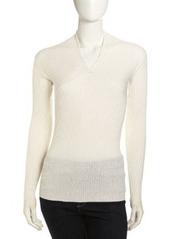 Isda & Co Draped V-Neck Sweater, Ivory