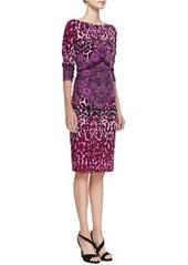 David Meister Animal-Print Crochet-Detail Long-Sleeve Jersey Dress