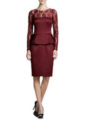 David Meister Illusion-Neck Peplum Cocktail Dress, Garnet