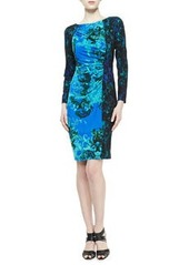 David Meister Long-Sleeve Contrast Print Dress, Turquoise/Black