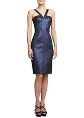 David Meister Metallic Halter Cocktail Dress
