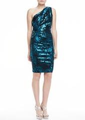 David Meister One-Shoulder Metallic Short Dress