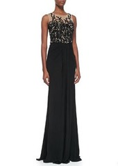 David Meister Sleeveless Embroidered Sequin Bodice Gown, Black/Nude