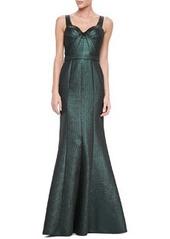 David Meister Sleeveless Sweetheart Metallic Gown