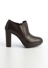 Tod's dark brown leather side zip wooden heel booties