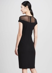 David Meister Illusion-Top Cocktail Dress