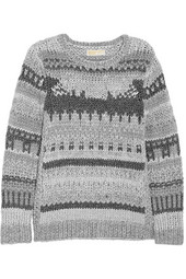 MICHAEL Michael Kors Metallic-paneled chunky-knit sweater