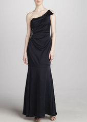 David Meister One-Shoulder Gown, Navy