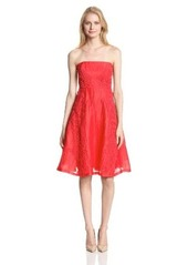 Tracy Reese Women's Lace Applique Linen Fit and Flare Strapless Dress
