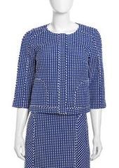 Laundry by Shelli Segal Boxy Swiss Dot Jacket, Blue Beret