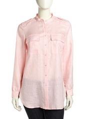 Go Silk Long-Sleeve Flowy Linen Blouse, Soft Pink