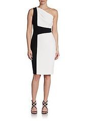 David Meister One-Shoulder Crepe Colorblock Dress