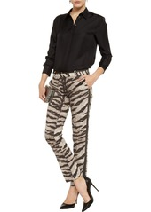 MICHAEL Michael Kors Tiger-print stretch-cotton straight-leg pants