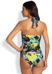 Etro One-Piece Floral-Print Halter Swimsuit