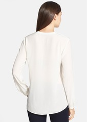Elie Tahari 'Tiffany' Collarless High/Low Silk Blouse