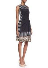 Etro Geometric Tribal-Print-Bordered Sleeveless Gathered Dress, Black