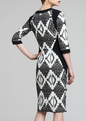 Etro 3/4-Sleeve Mixed-Print Cady Dress