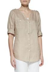 Go Silk Linen Button-Front Tunic, Petite