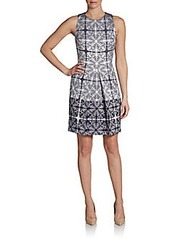 Cynthia Steffe Aniston Abstract Baroque-Print Sheath Dress
