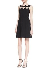 Sleeveless Diamond Bodice Fit & Flare Dress, Noir   Sleeveless Diamond Bodice Fit & Flare Dress, Noir