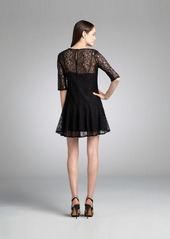 French Connection black lace sheer sleeve 'Gigliola' drop waist dress
