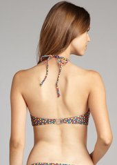 French Connection blue floral print stretch nylon 'Daisy Dew' halter bikini top