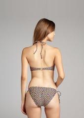 French Connection blue floral print stretch nylon 'Daisy Dew' tie side bikini bottom