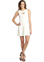 French Connection cream cutout neckline 'Fast Feather Ruth' sleeveless dress