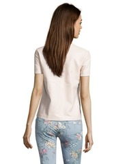 French Connection cream faux leather 'Athena' crewneck top