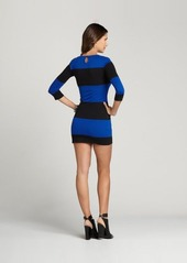 French Connection electric blue and black total stripe dress