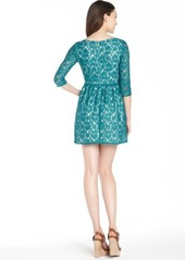 French Connection lake green 'Lizzie Lace' three quarter sleeve dress