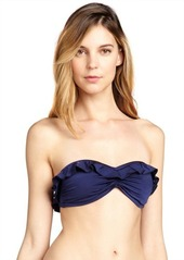French Connection nocturnal blue ruffle trimmed 'Frilly Fancy' bandeau top