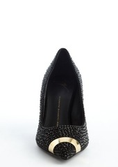 Giuseppe Zanotti black leather crystal studded detail 'Ester 80' pointed toe pumps